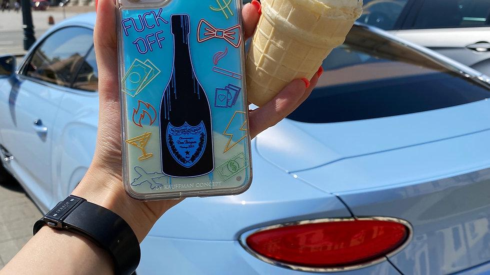 Neon Sand Case F*ck Off Perignon/ blue edition