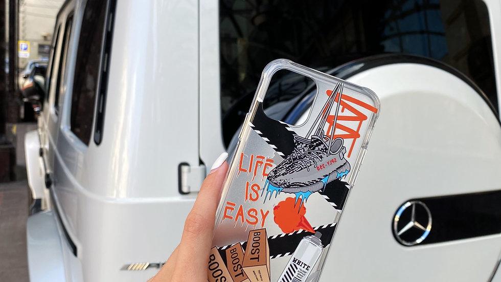 Ultra-matte премиум-кейс на iPhone Life Is Easy/ grey
