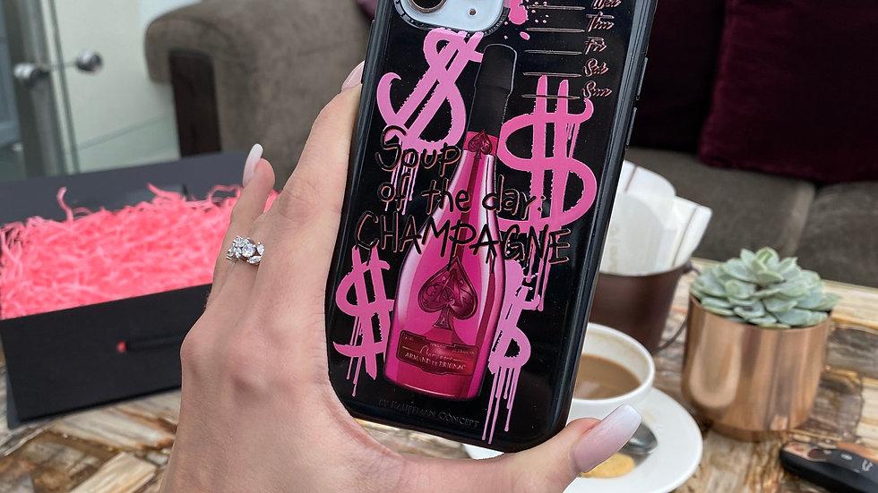 Элит-силикон кейс на iPhone Soup Of The day Champagne/ Pink Bottle