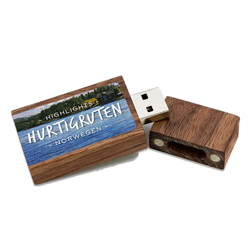 USB-Stick, Holz, Highlights Hurtigruten