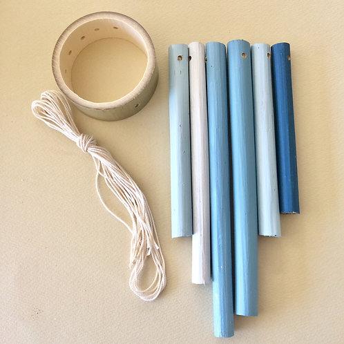 竹のウィンドチャイムキット(ブルー系カラー)