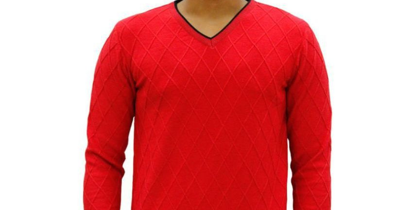 Maxexcel Red V Neck Sweater