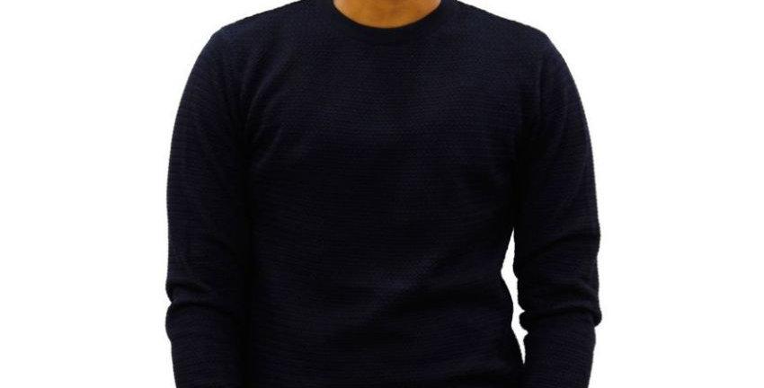 Maxexcel Blue Round Neck Sweater