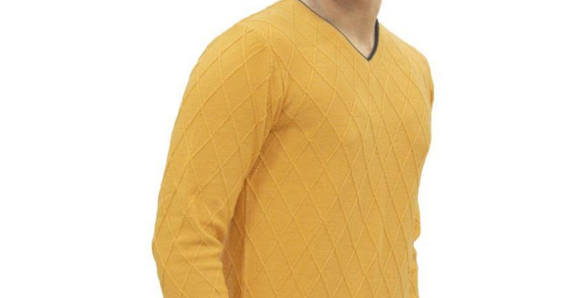 Maxexcel Yellow V Neck Sweater