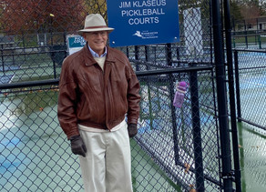 """BLOOMINGTON PICKLEBALL COURTS NOW NAMED """"THE JIM KLASEUS COURTS"""""""