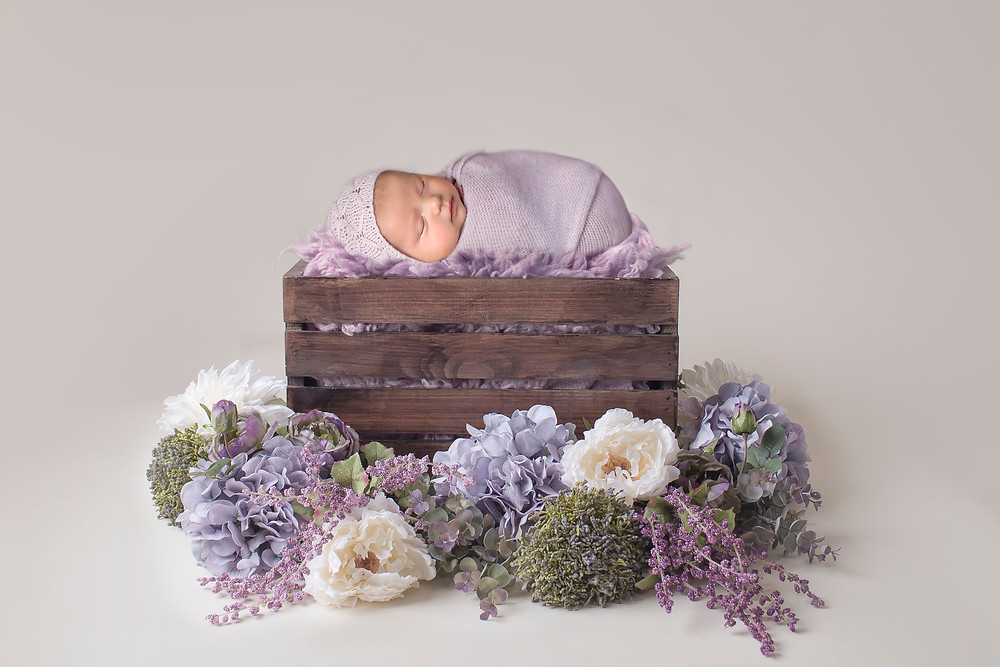 newborn in wooden crate flowers pictures