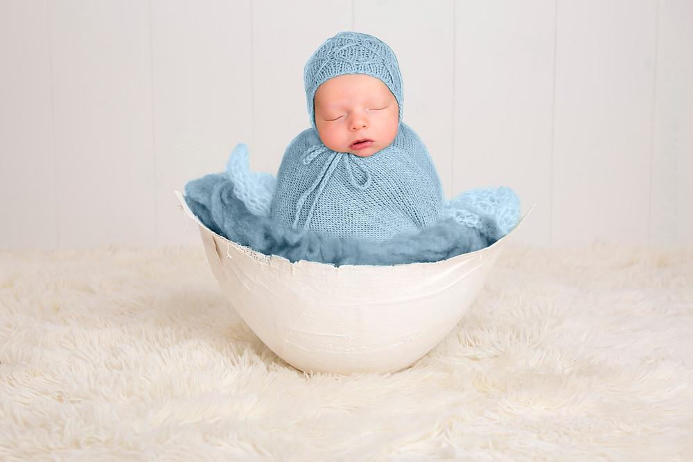 potato sack pose in bowl newborn