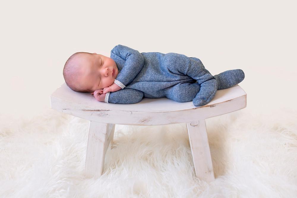Charlottesville newborn photographer baby on bench