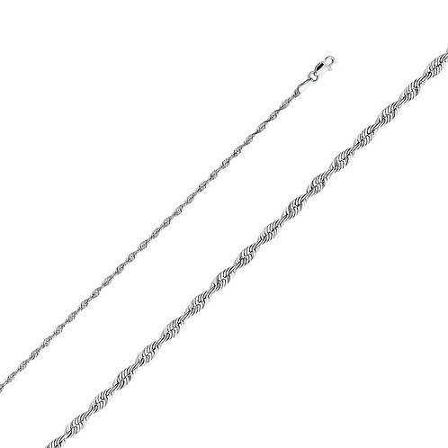 14k White Gold 2.5-mm Solid Rope Chain Necklace
