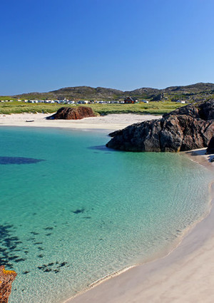 Clachtoll big and little beach at low tide