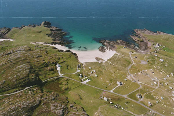 Aerial view Clachtoll By Lochinver