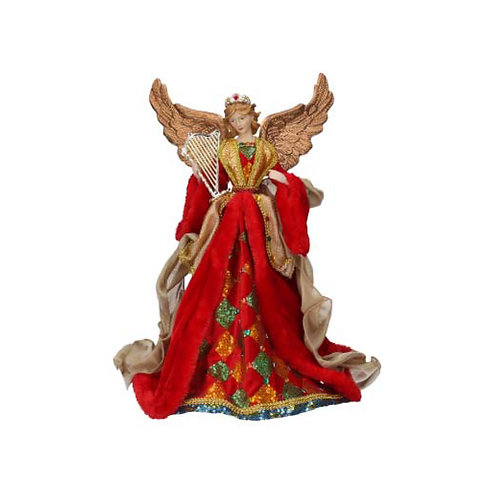 Red, Green and Gold Angel Ornament - Large