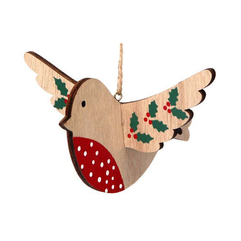 Flying Wooden Robin with Holly Decoration