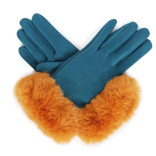 Bettina Faux Suede Gloves - Teal