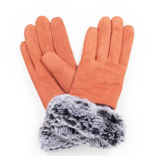 Penelope Faux Suede Gloves - Coral