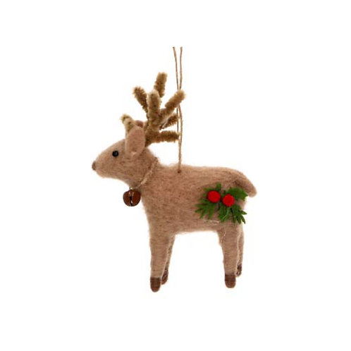 Mixed Wool Reindeer with Holly and Bell Decoration - Brown