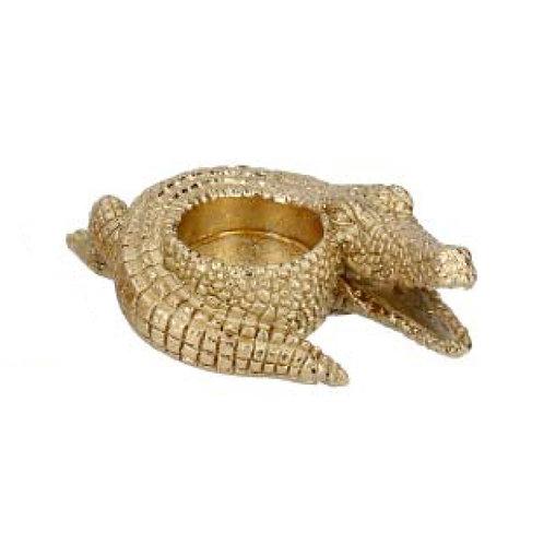Gold Resin Crocodile Tealight Holder