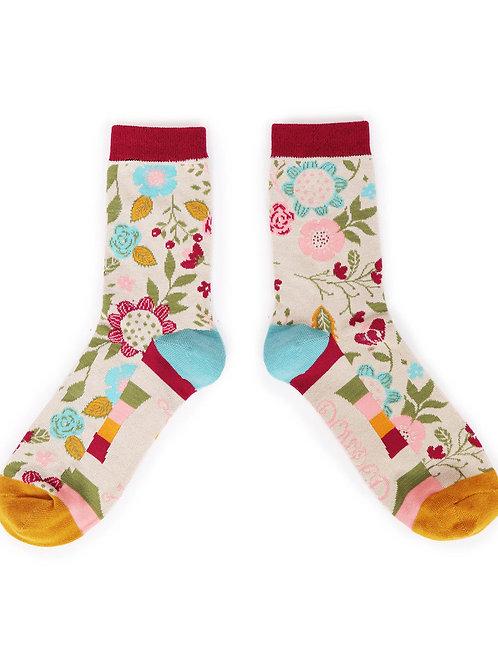 Scandi Floral Ankle Sock - Cream