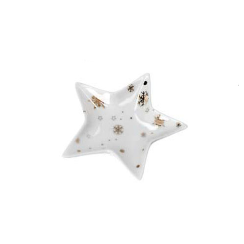 Gold & White Ceramic Star Trinket Plate - Small