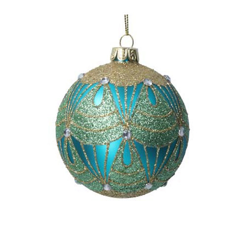 Peacock Blue and Gold Deco Glass Bauble