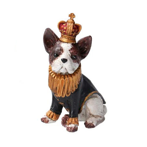 French Bulldog with Ruff and Crown Ornament