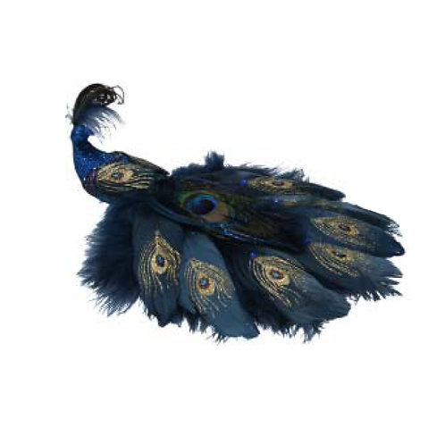 Blue Glitter Feather Peacock Clip