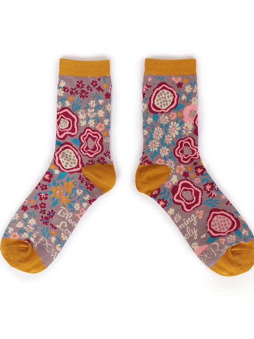 Abstract Floral Ankle Sock