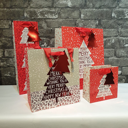 Large Luxury Red and White Merry Christmas Tree Gift Bag