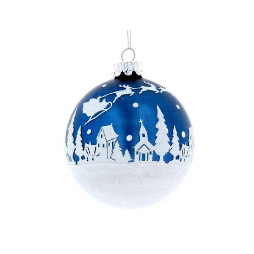 Matte Blue Glass Bauble with White Glitter Snowscene