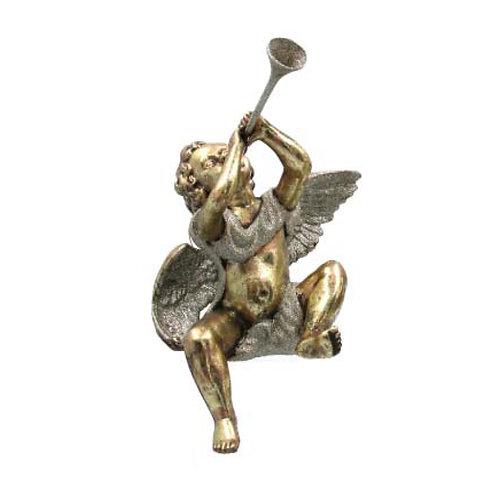 Old Gold Acrylic Cherub with Trumpet Shelf Sitting Ornament