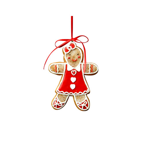 Gingerbread Girl with Hearts Decoration