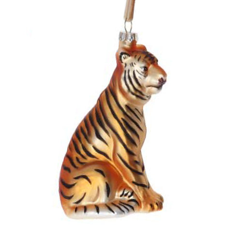 Painted Glass Tiger Decoration