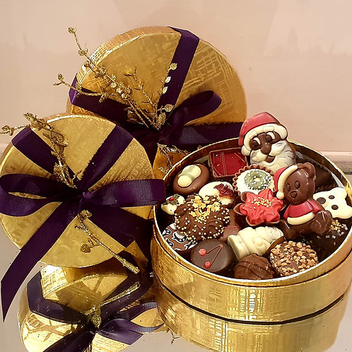 Medium Round Gold Chocolate Selection Box