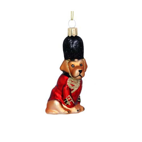 Painted Glass Soldier Dog Decoration