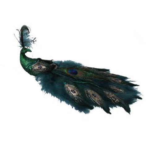 Green Glitter Feather Peacock Clip