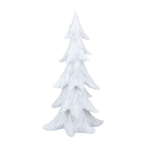 White Resin Frosted Tree Ornament