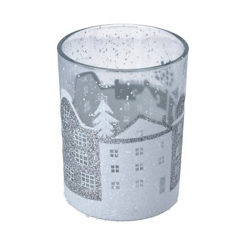 Clear Glass Tealight Pot with Silver & White Houses - Large