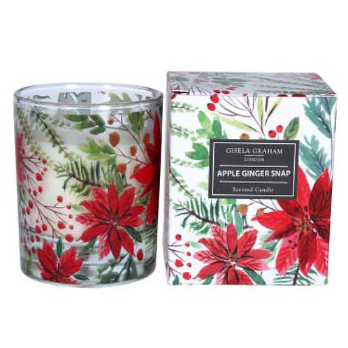 Poinsettia, Apple Ginger Snap Scented Candle - Large