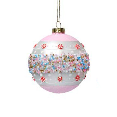 Matte Pink & White Glass Bauble with Pastel Beaded Band