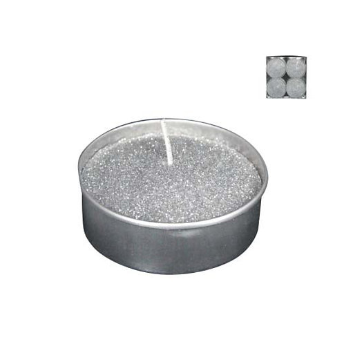 Silver Glittered Wax Tealight - Large -  Box of 4