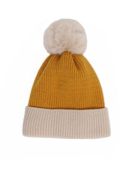 Bonnie Pom Pom Hat - Mustard