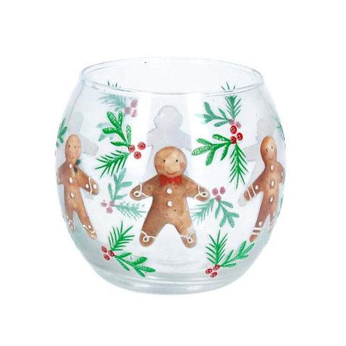 Gingerbread Men Glass Tealight Holder
