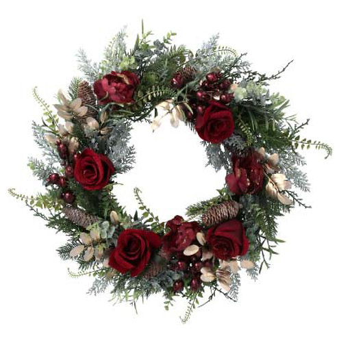 Green and Gold, Fir and Leaf Wreath with Red Roses