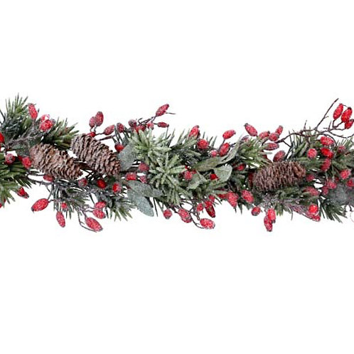 Frosted Fir Garland with Rosehips - 190cm