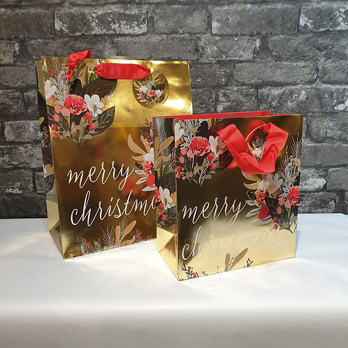 Large Merry Christmas Floral Gift Bag
