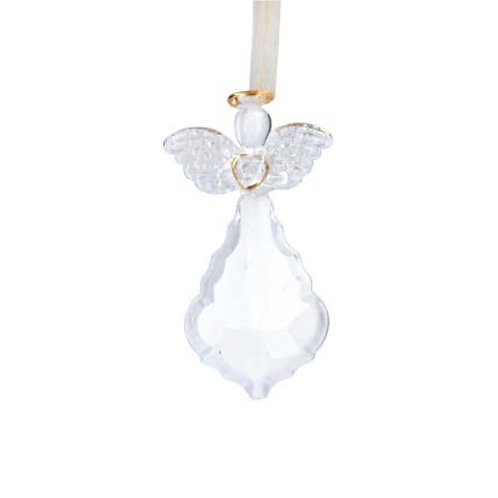 Glass Crystal with Angel Holding Heart Decoration