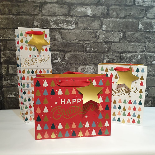 Small Happy Christmas Red and White Gift Bag