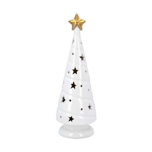 White Ceramic LED Christmas Tree Ornament with Gold Star