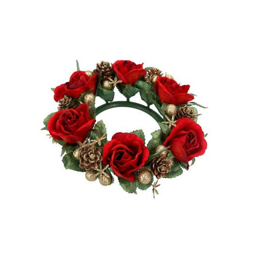 Red Rosen and Gold Cone Candle Ring - Large