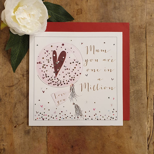 'Mum you are one in a million' - Mother's Day Card